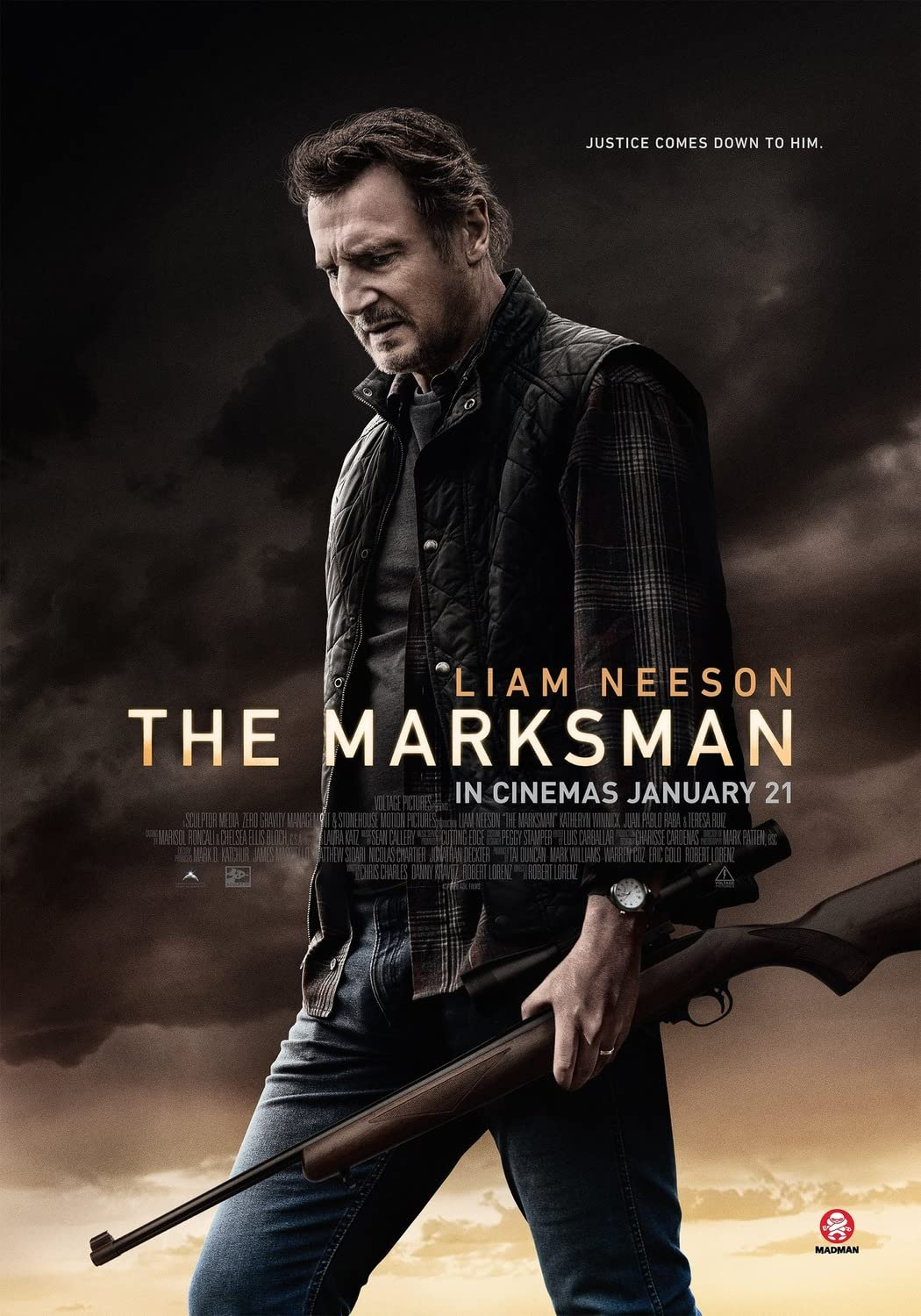 The Marksman (2021) 720p HEVC HDRip Hollywood Movie [Dual Audio] [Hindi (Cleaned) or English] x265 AAC ESubs [600MB]